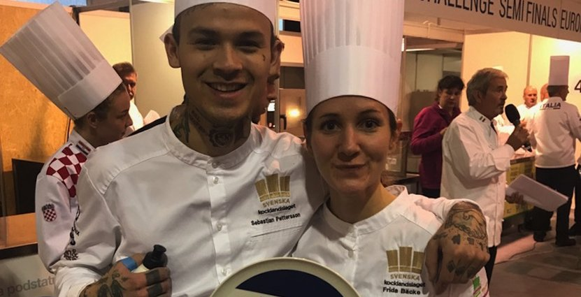 Sebastian Petterson och Frida Bäcke vann helgens deltävling i Global Pastry Chef i Prag.
