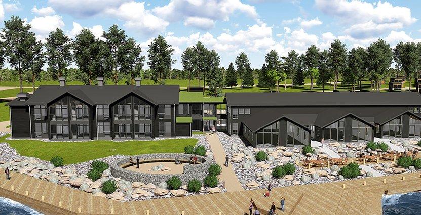 Skiss över nya Furuvik. Där man satsar 30 miljoner kronor i nytt hotell. Bakgrunden är att man vill locka konferensgäster.
