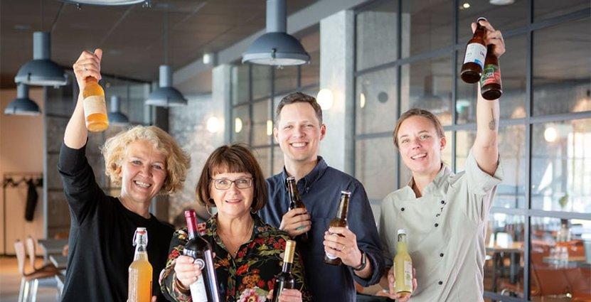 Initiativtagare Carina Gavelin Olofsson, Anna Lind Lewin,<br />  Jakob Thomsgård och Titti Qvarnström. Foto: Pressbild Skånska Drycker