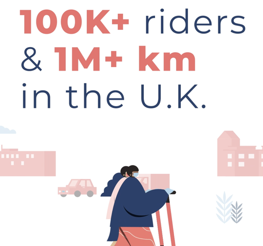 illustration of two people riding voi scooters through a city with new UK riding stats above