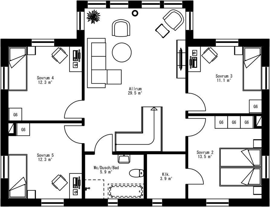 Planritning för Villa Högslätten