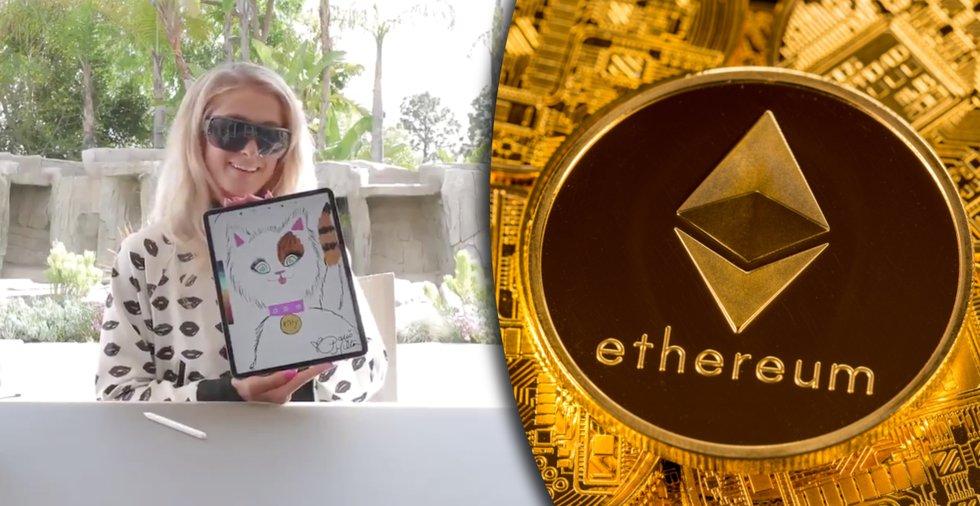 Kryptokatt ritad av Paris Hilton säljs för 150 000 kronor i ethereum