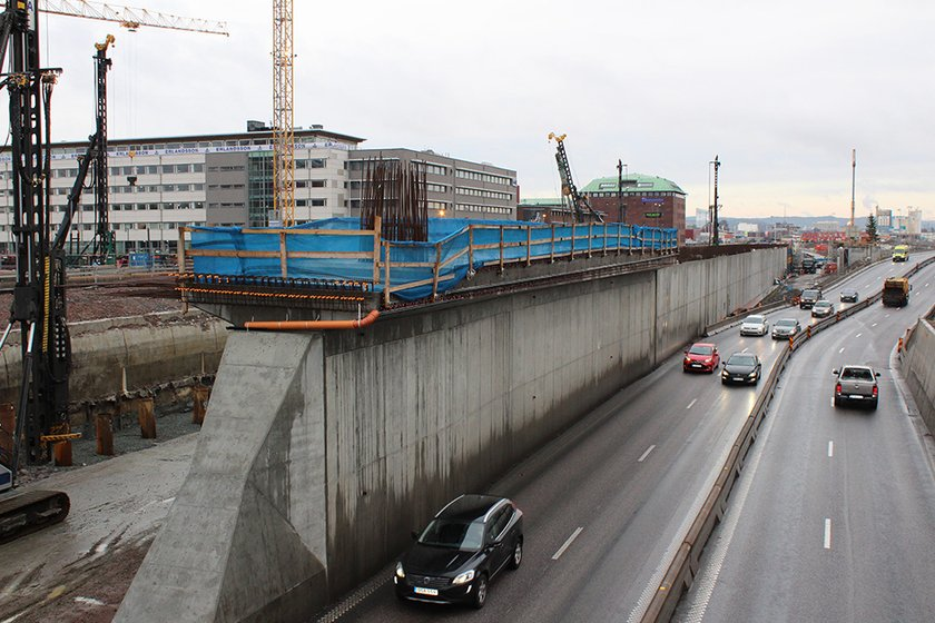 Påfarten till Hisingsbron från Centralenområdet ska placeras vid överdäckningen av E45 (bild tagen i januari 2018). Foto: Trafik Göteborg