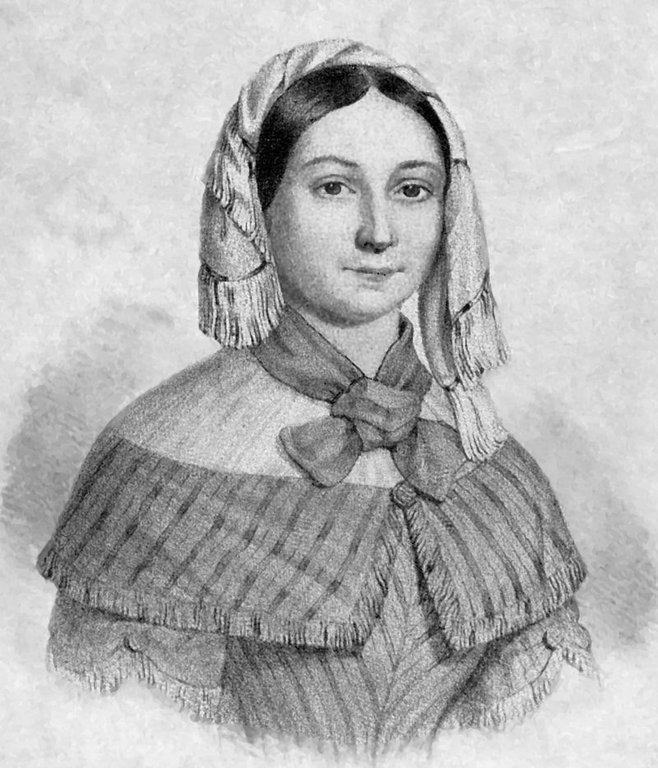 Emilie Flygare Carlén som ung (förlaga till staty i Strömstad).