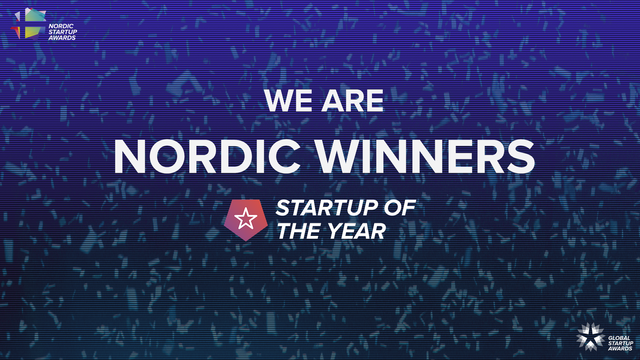blue banner with confetti in the background and white text saying we are the Nordic winners, Startup of the year