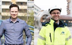 Bilden är ett montage av två olika bilder på Pontus Gard, projekt- och byggledare och Karl Wikholm, programmerare. Båda står utomhus och ler mot kameran.