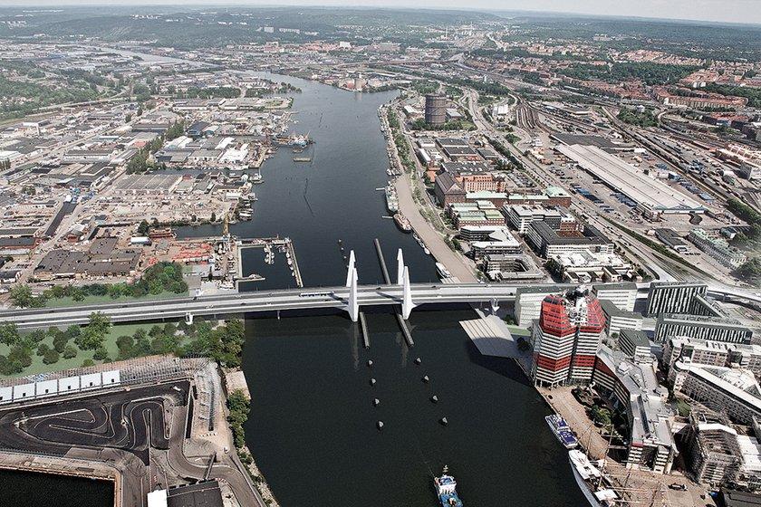 Visionsbild över Hisingsbron. Foto: Dissing Weitling architecture