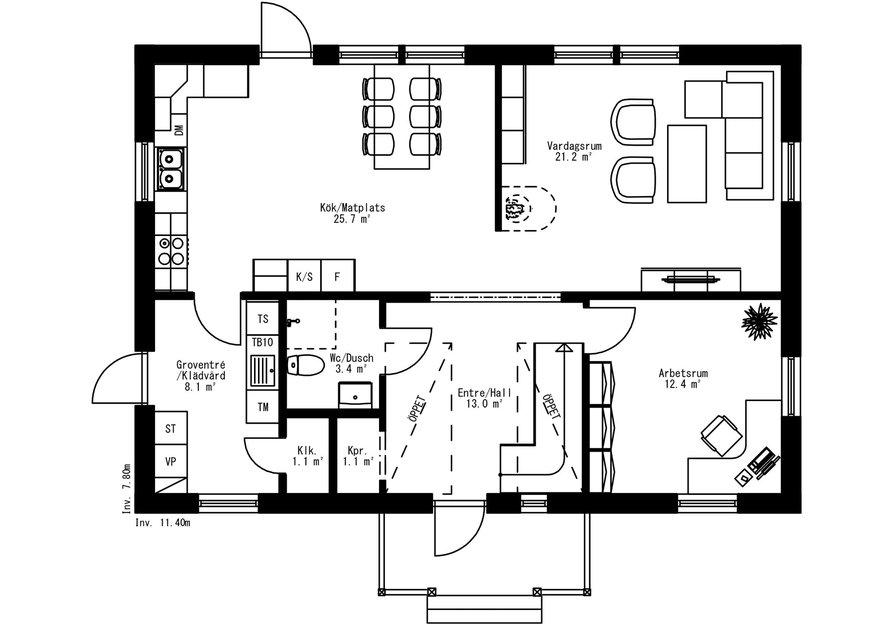Planritning för Villa Lockeby