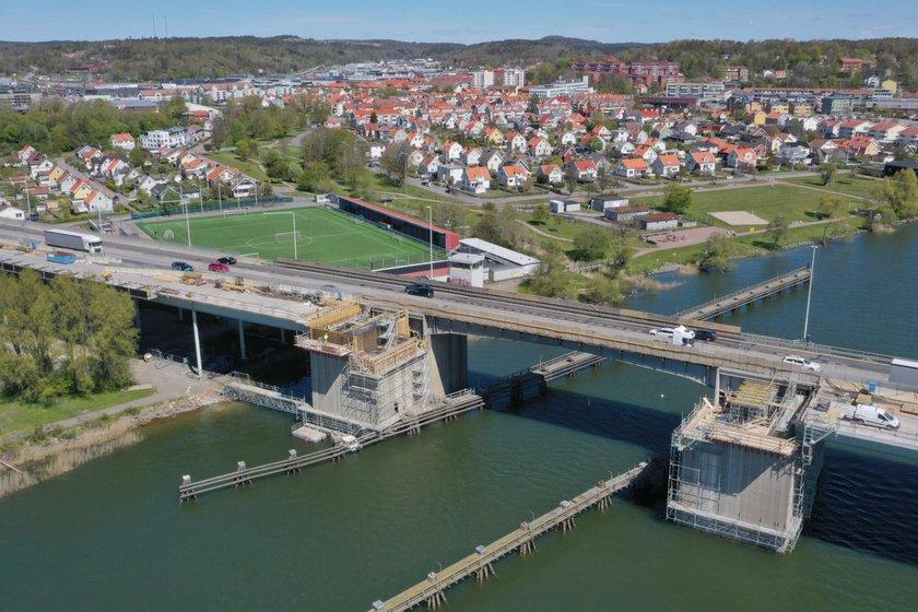 Drönarbild över Nordreälvbron.