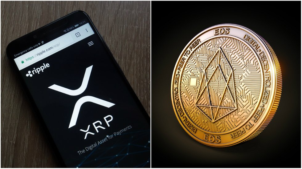 Eos increases and xrp decreases on calm crypto markets.
