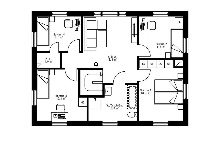 Planritning för Villa Herrskog