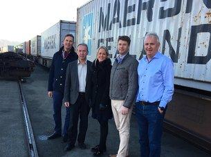 Containertog: Drammen havn på skinner