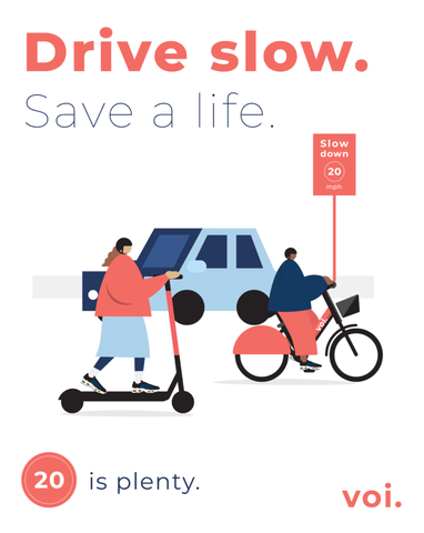 Safety campagin drawing showing an e-scooter rider and a car with the caption: drive slow, save a life.