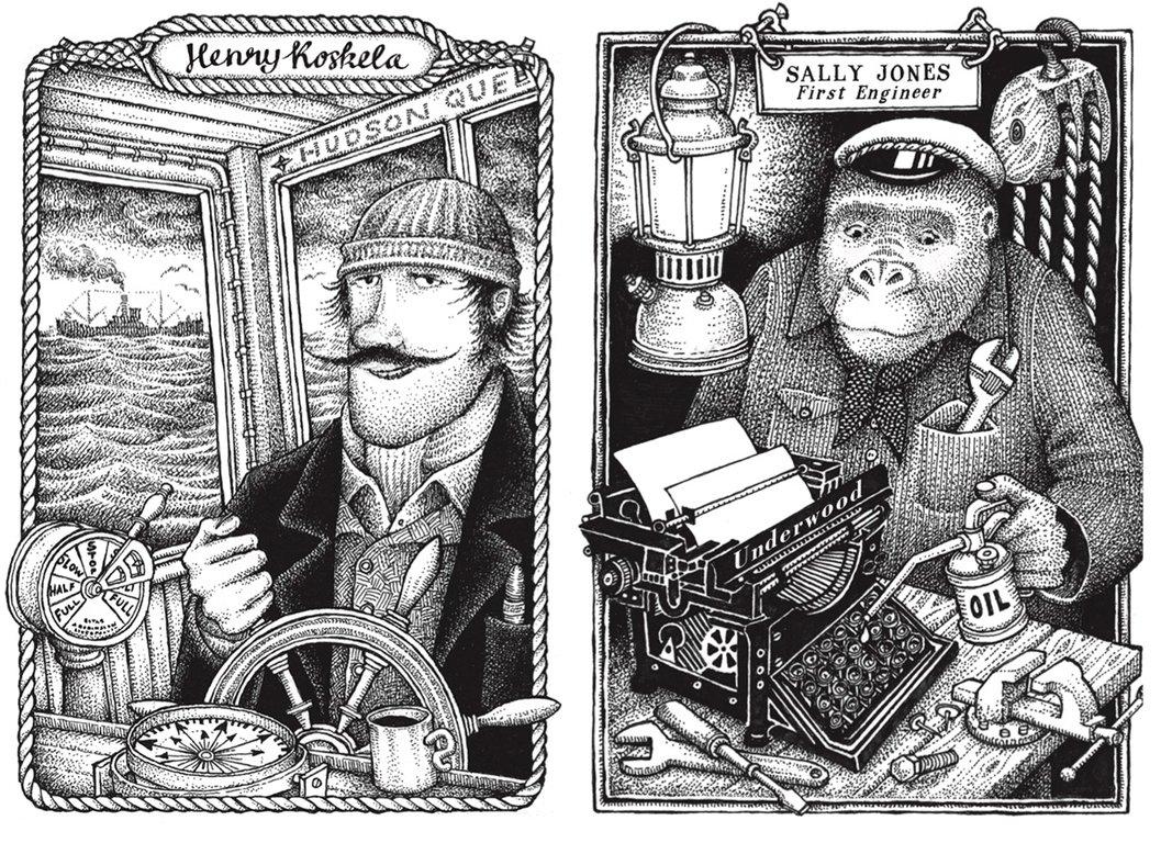 Henry Koskela och Sally Jones. Illustrationer av Jakob Wegelius från boken Den falska rosen.