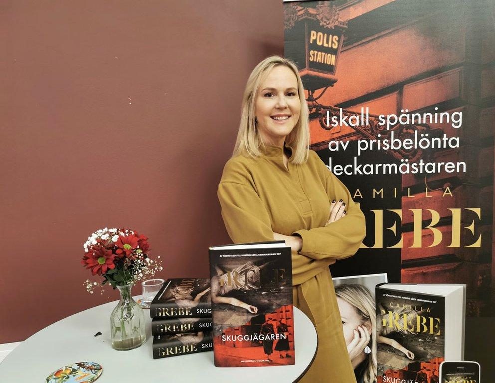 Camilla Grebe på deckarfrukost på Bonnierförlagen. Foto: Elsa Sjögren