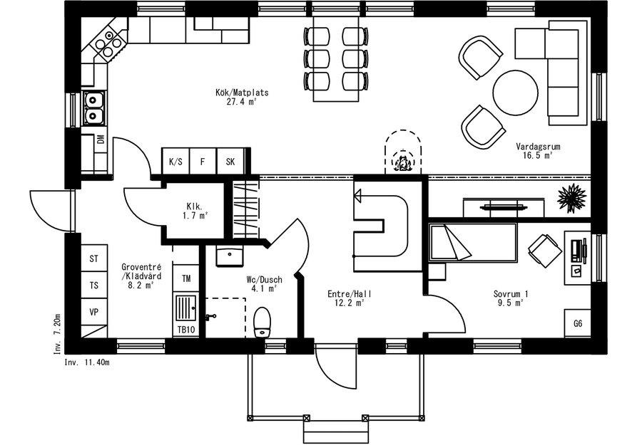 Planritning för Villa Myckelby