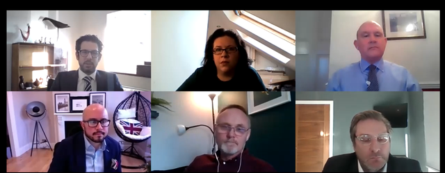 screen shot showing six video conference squares with the six webinar panellists