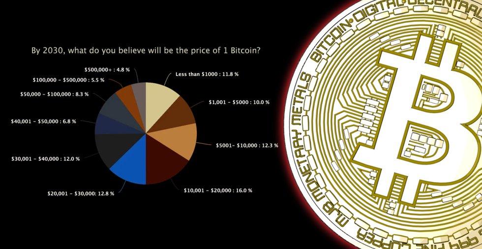 Ny undersökning visar: Få investerare tror att bitcoinpriset nått 50 000 dollar om tio år