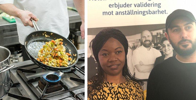 Faustine Evon klarade valideringen och kan därmed titulera sig kock. Ihab Alshoumari (till höger) validerades för ett år sedan och fick jobb tre dagar efter. Foto: Colourbox, Visita