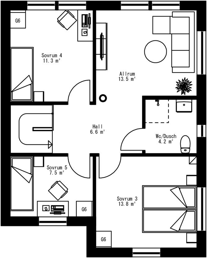 Planritning för Villa Oxviken