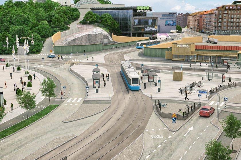 Korsvägen från Skånegatan. Bild: Trafikverket