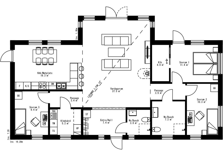 Planritning för Villa Ytterskog