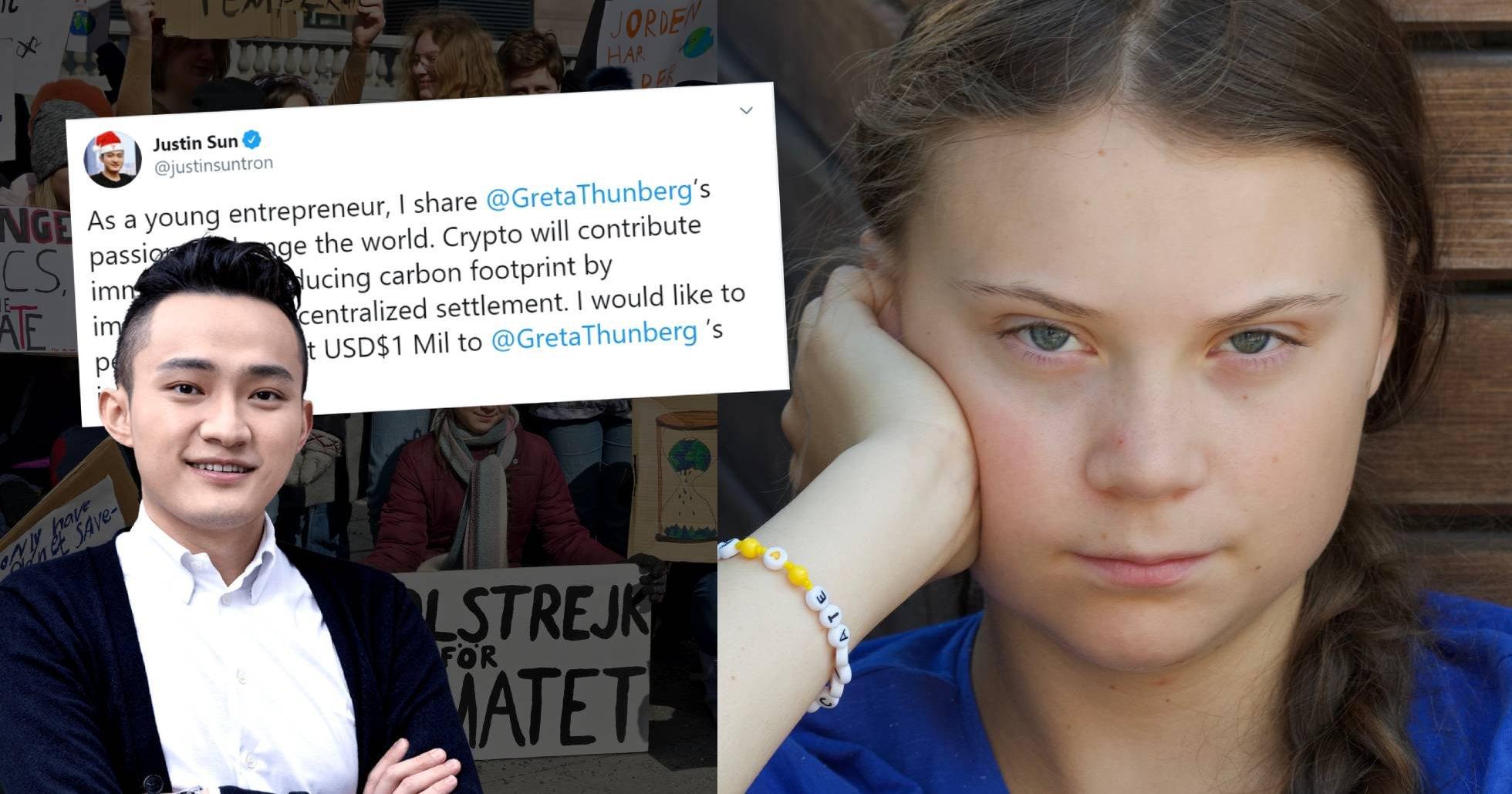 Kinesisk tech-entreprenör vill skänka en miljon dollar till Greta Thunberg.