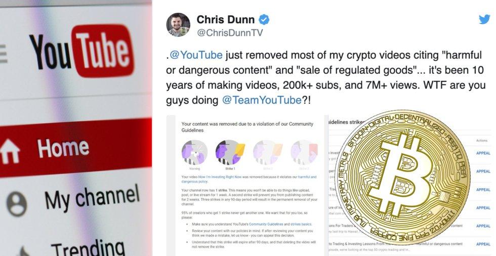 Youtube raderar innehåll från flera stora kryptokanaler