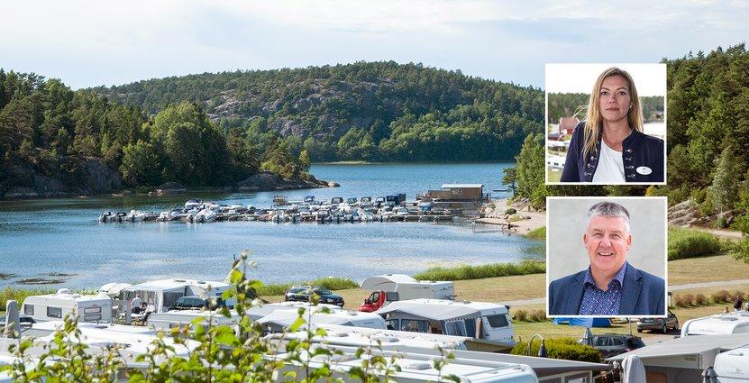 Lena Kempe, vd för Daftö Resort, och Peter Jansson, tf vd för SCR Svensk Camping.  Foto: Pressbilder