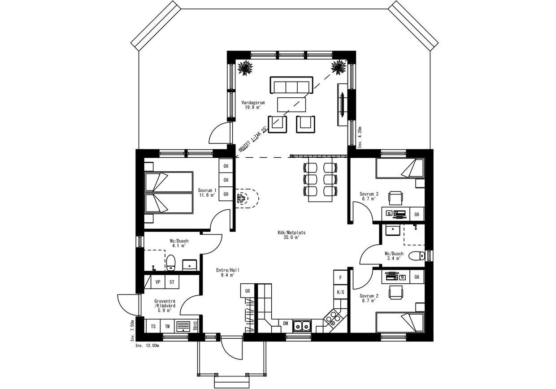 Planritning för Villa Tjärned