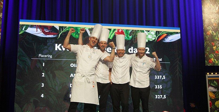 Fyra glada kockar vidare till  andra finaldagen av Årets Kock 2019. Foto Lina Konradsdal/Årets Kock
