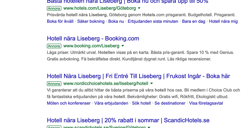 Sökresultat på Google efter sökning på Hotell nära Liseberg Skärmavbild 2019-04-01