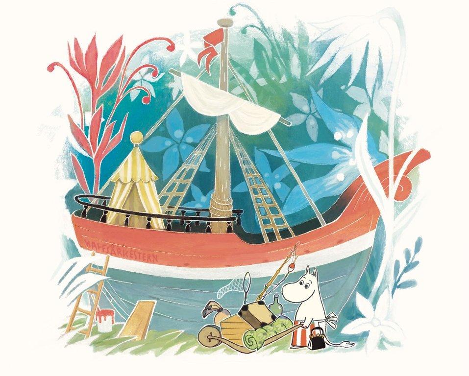 Illustration ur <em>Mumintrollen och havsorkestern</em>