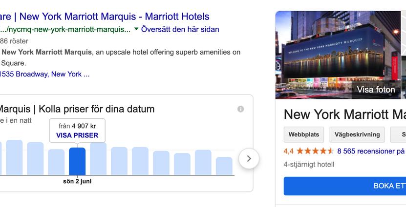 Priser för hotellrummen visas i sökresultatet Skärmavbild