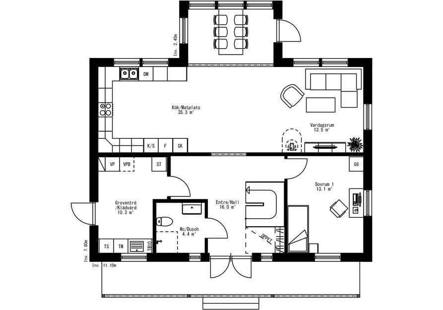 Planritning för Villa Sidensjö