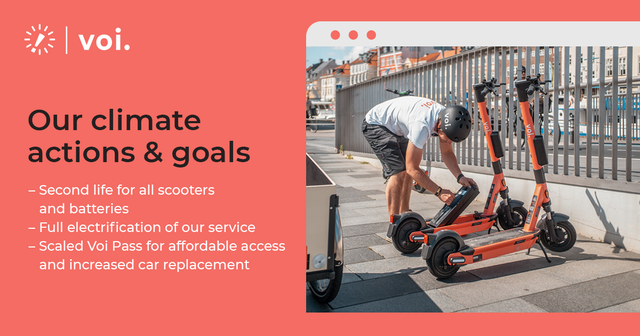 red slide deck with text and an image showing a man swapping batteries on two voi e-scooters