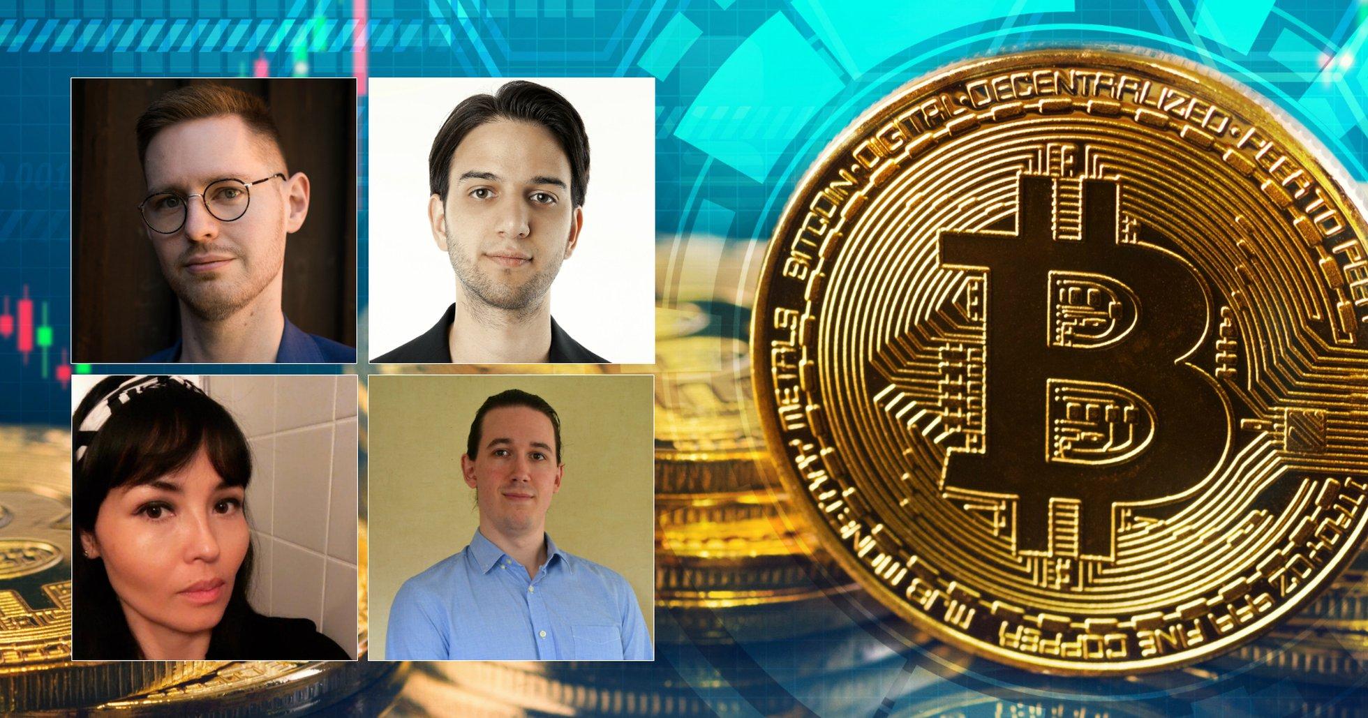 Svenska experter på bitcoin och kryptovalutor: Totte Löfström, Eric Wall, Gina Pari, Christopher Jämthagen.