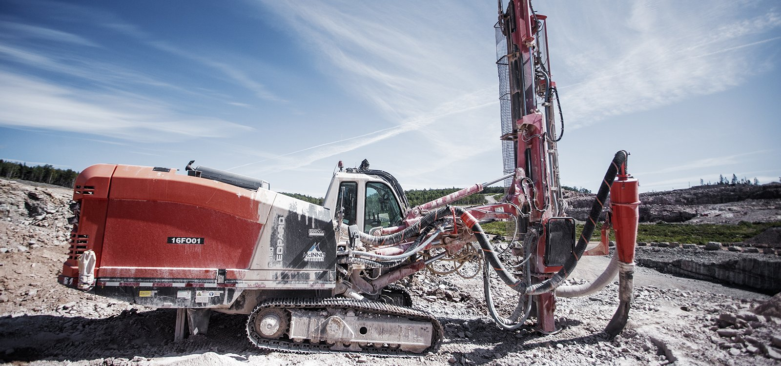 This Leopard DI550 down-the-hole drill rig has helped McInnis stay productive in difficult conditions.