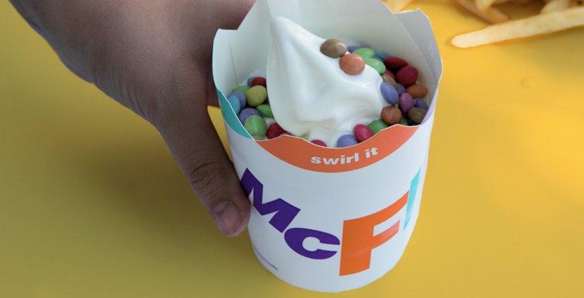 McDonald's tar bort plastlocken från sina glassar som ett led i sitt hållbarhetsarbete. Foto: Pressbild
