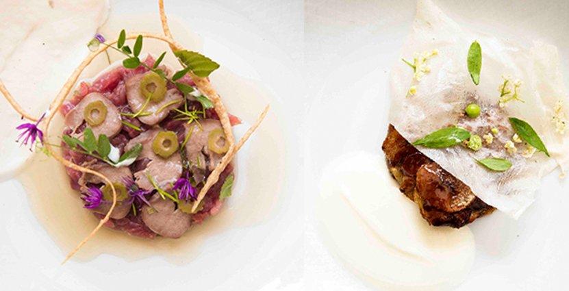 Vinnande förrätt i form av tartar och dessert med potatis.