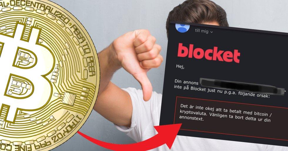 Jonas ville ta betalt i bitcoin på Blocket – då sa annonssajten nej.