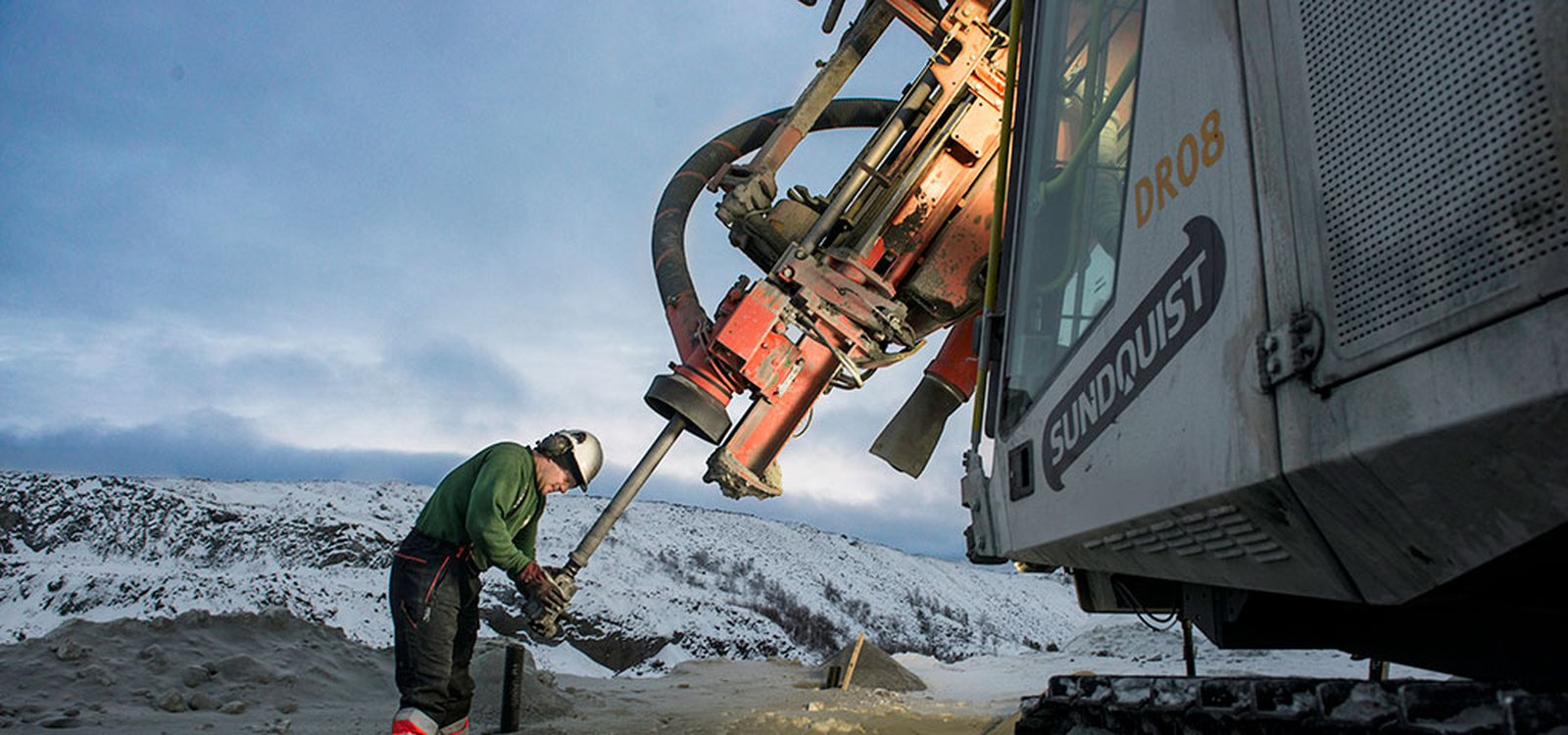At Sydvaranger, top hammer drilling uses less fuel with better penetration than down-the-hole drilling.