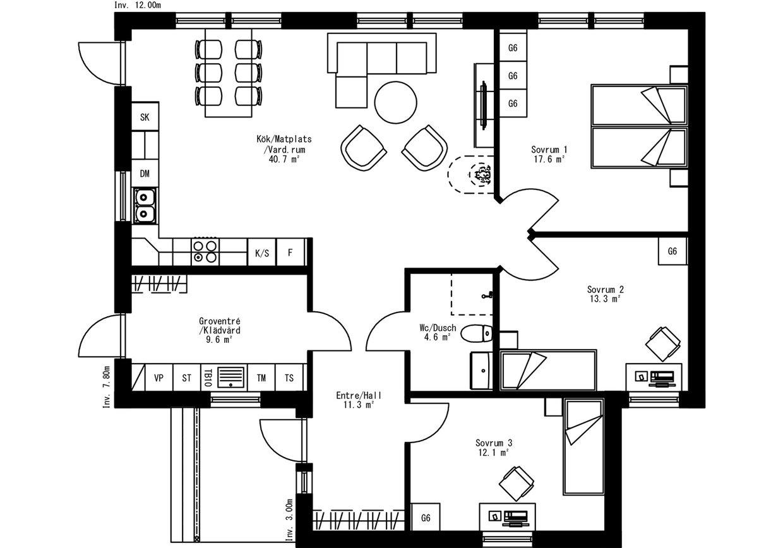 Planritning för Villa Dynäs