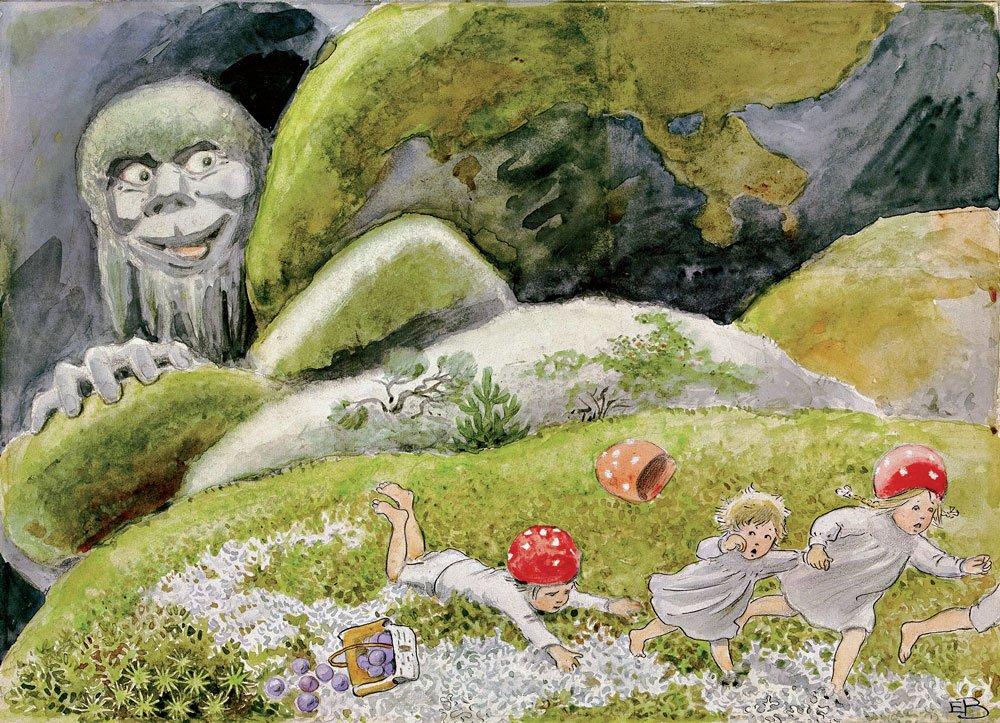Illustration av Elsa Beskow, ur Tomtebobarnen