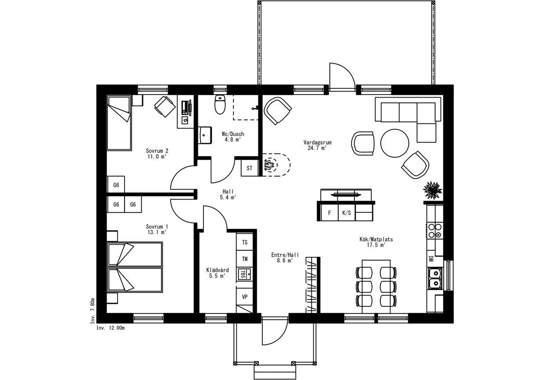Planritning för Villa Mjällom