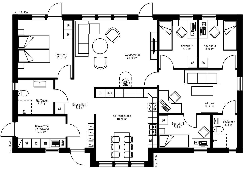 Planritning för Villa Aspnäs