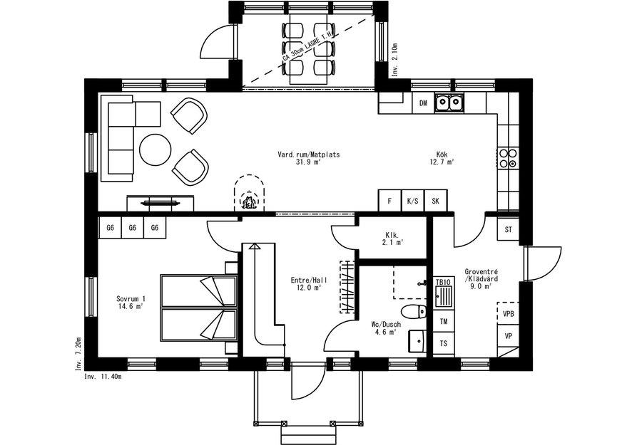 Planritning för Villa Skule
