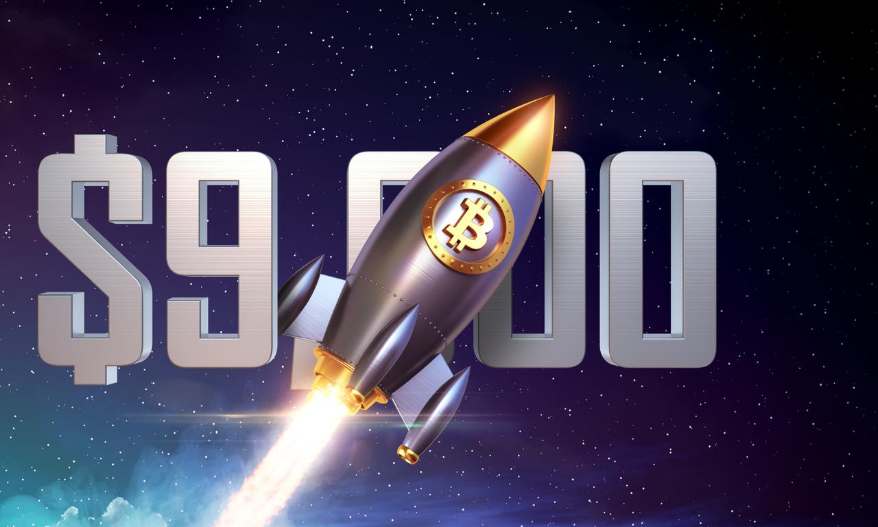 Bitcoin rusar förbi 9 000 dollar – men är kraftigt volatil.