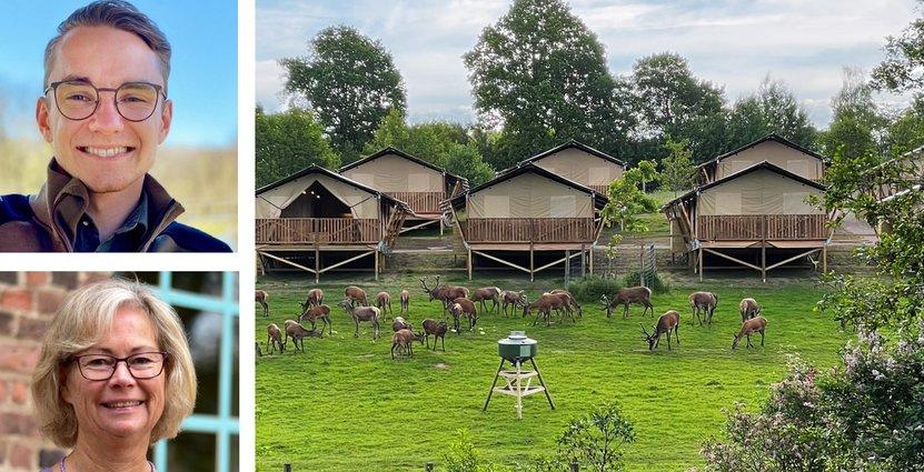 Glenn André Viste Bøe, vd Skånes djurpark, samt Rosi Magnusson, Strateg på Visit Halland, ser hur glamping går starkt framåt. Foto: Skånes djurpark och Visit Halland