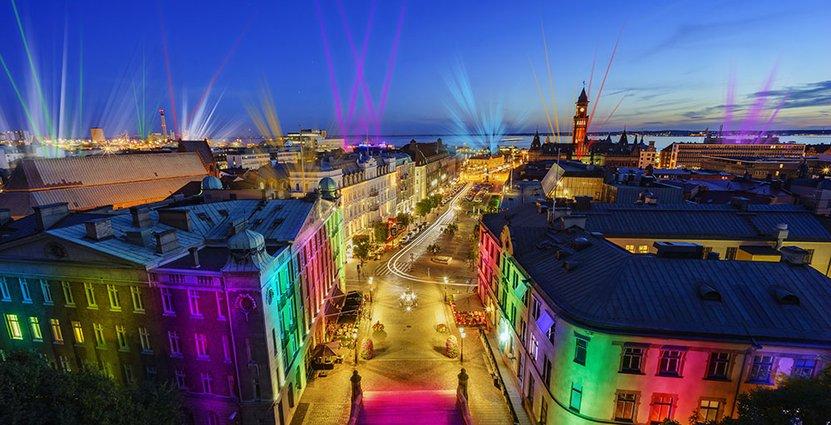 Så här tänker sig arrangörerna att Helsingborg ska se ut nattetid i februari.<br />